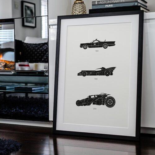 Batman Batmobile Car Poster Art Print - Rear View Prints
