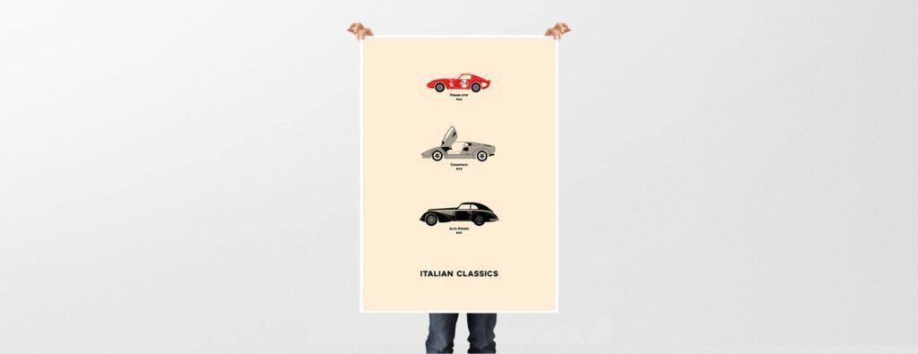 Holding Classic Italian Car Print - Rear View Prints
