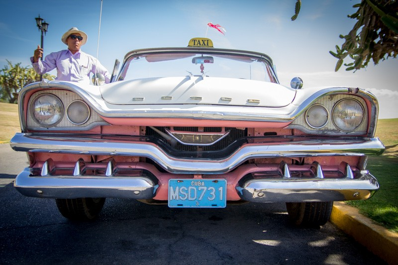 Pink Dodge Classic Car in Cuba- Rear View Prints