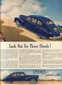 1940s Lincoln Vintage Car Print - Rear View Prints