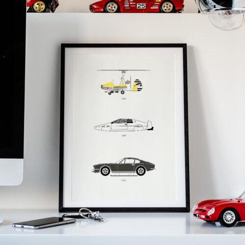 James Bond Iconic Car Art Car Print Car Poster F1 Poster Automotive Art - Rear View Prints