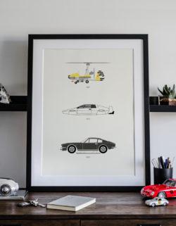 James Bond Car Art Car Print Car Poster F1 Poster Automotive Art - Rear View Prints