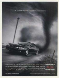 Chevy Monte Carlo Outruns Storm - Rear View Prints