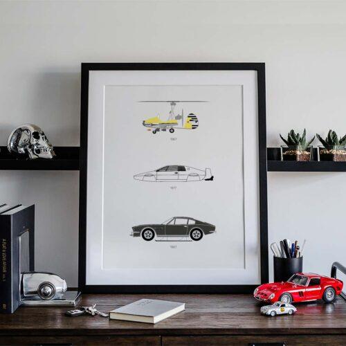 James Bond Car Poster Art Print - Rear View Prints