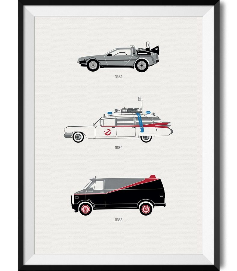 80s Movie Car Print - Rear View Prints