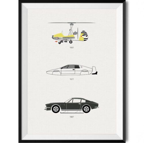 James Bond Car Print - Rear View Prints