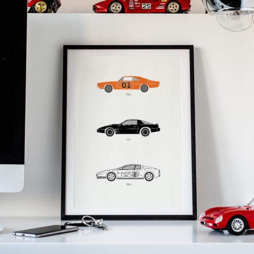 80's TV Car Art Car Print Car Poster F1 Poster Automotive Art - Rear View Prints