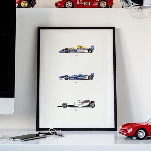 Williams F1 Car Art Car Print Car Poster F1 Poster Automotive Art - Rear View Prints