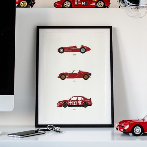 alfa romeo car poster print automotive art - Rear View Prints