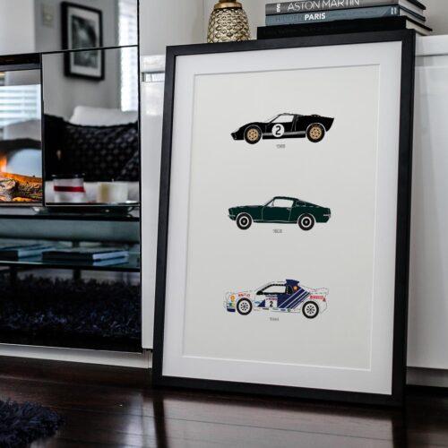 ford car poster print automotive art - Rear View Prints