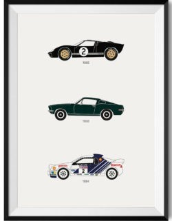 ford car poster print automotive art - Rear View Prints