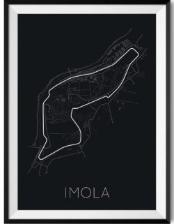 imola f1 track art poster print automotive art framed black - Rear View Prints