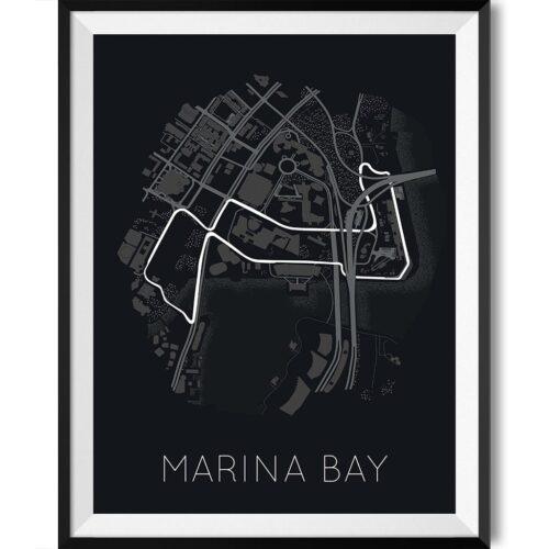 Marina Bay Street Circuit Track Poster F1 Art Print - Rear View Prints