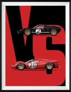 Ford Vs Ferrari Car Art Print Poster - Rear View Prints