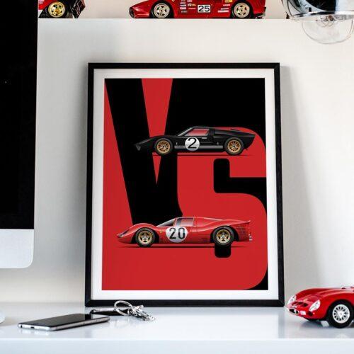 Ford Vs Ferrari Car Art Print Poster - Rear View Prints