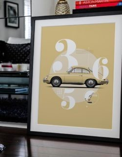 Porsche 356 Car Poster Art Print - Rear View Prints