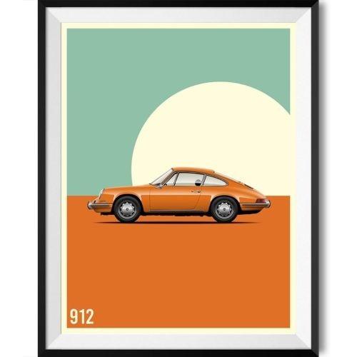 Porsche 912 Car Poster Art Print - Rear View Prints