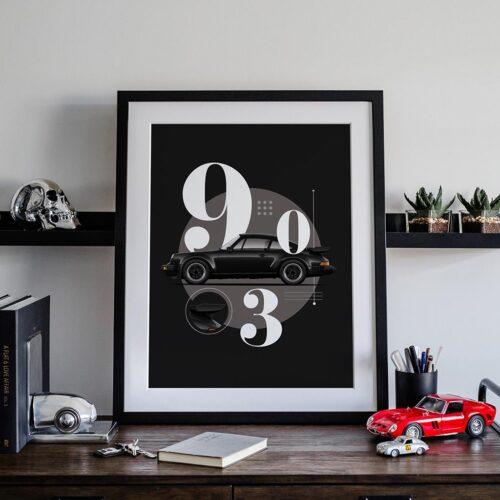 Porsche 930 Turbo Car Poster Art Print - Rear View Prints