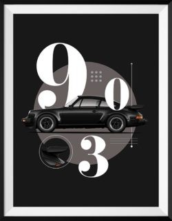 Porsche 930 Turbo Car Poster Art Print - Rear View Prints