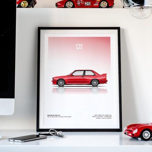 BMW E30 M3 Car Poster Art Print - Rear View Prints