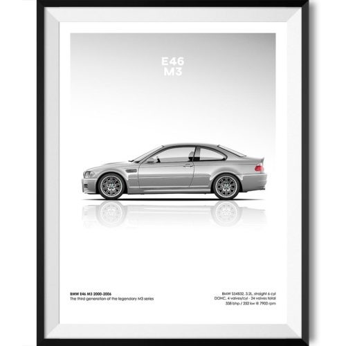 BMW E46 M3 Car Poster Art Print - Rear View Prints