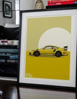 Porsche GT3 Car Poster Art Print - Rear View Prints