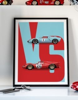 GT40 vs 330P3 Motorsport Car Art Print Poster - Rear View Prints