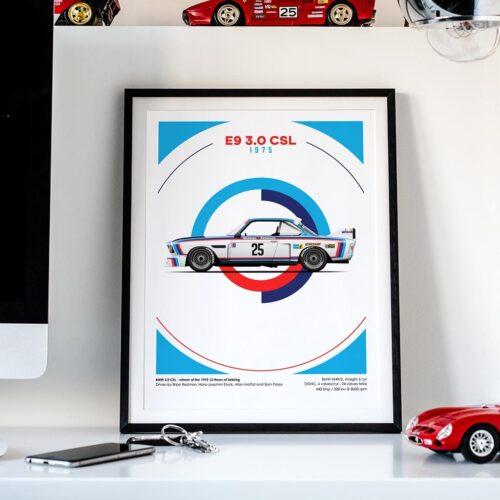 BMW E9 3.0 CSL Motorsport Poster Car Art Print - Rear View Prints