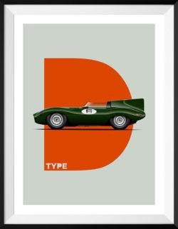 Jaguar D-Type Motorsport Poster Car Art Print - Rear View Prints