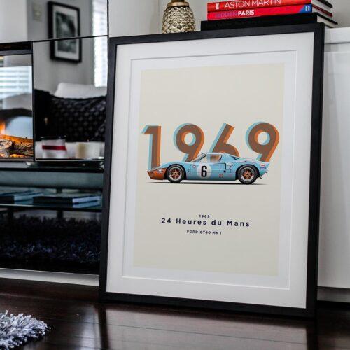 Ford GT40 1969 Poster Motorsport Art Print - Rear View Prints